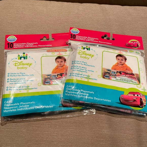 Disposable baby placemats- disney cars new, 2 pack!
